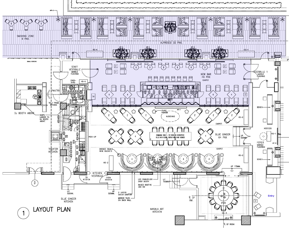 Taj palace hotel delhi bluebar for Restaurant layout
